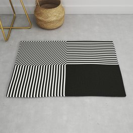Geometric abstraction, black and white Rug