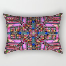 no. 257 pink green multicolored pattern with blue Rectangular Pillow