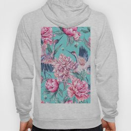 Teal peonies and birds Hoody