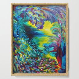 FLIGHT ON TAP - Whimsical Colorful Feathers Fountain Peacock Abstract Acrylic Painting Purple Teal Serving Tray