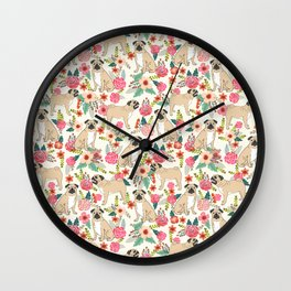 Pug floral dog breed pet pugs must have gifts for unique dog breed owners Wall Clock