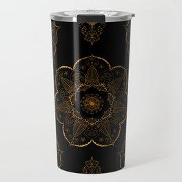Neutral old gold mandala art floral pattern design Travel Mug