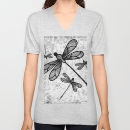 Bold black and white embroidered dragonflies on texture Unisex V-Neck