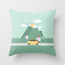 Little Yellow Car Throw Pillow
