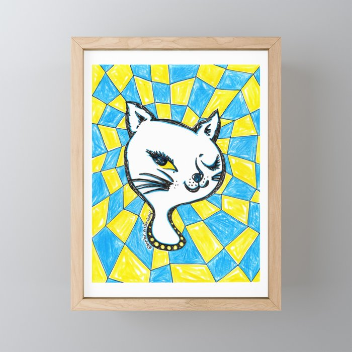 Winking Kitty Blue & Yellow Background Framed Mini Art Print