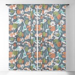 Koi Pond - Orange Sheer Curtain
