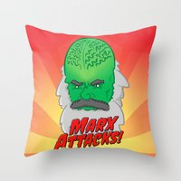 marx Throw Pillows featuring Marx Attacks! by ericbennettart