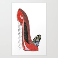 Red Corkscrew Stiletto Shoe and Butterfly Art Art Print