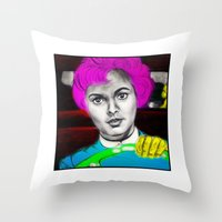 psycho Throw Pillows featuring Psycho by Matthäus Rojek