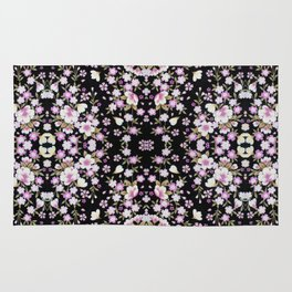 Cascading Pink Flowers Rug