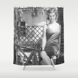 Italian Starlet Scilla Gabel black and white portrait photograph / art photography Shower Curtain