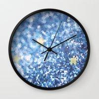 night sky Wall Clocks featuring Night Sky by Elizabeth