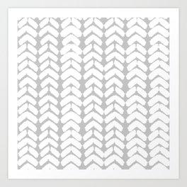 Hand-Drawn Herringbone (White & Gray Pattern) Art Print