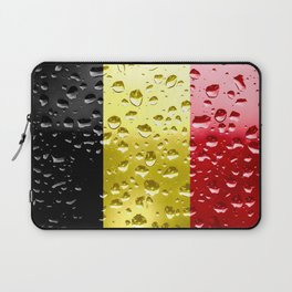 Flag of Belgium - Raindrops Laptop Sleeve
