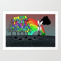 Fairies Kissing infront of a Frog Art Print