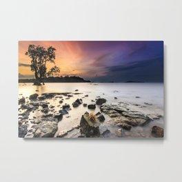 Stony Shore at Sunset Landscape Metal Print