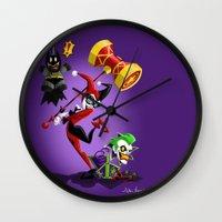 harley quinn Wall Clocks featuring Harley Quinn by The Art of Eileen Marie