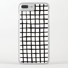 Strokes Grid - Black on Off White Clear iPhone Case