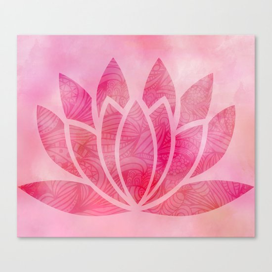 Zen Watercolor Lotus Flower Yoga Symbol Canvas Print