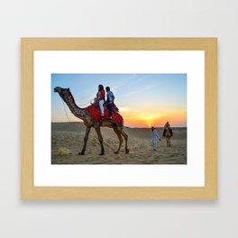 Camel Safari in Thar Desert, Sam, Jaisalmer, Rajasthan, India Framed Art Print