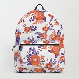 University football fan alumni clemson orange and purple floral flowers gifts Backpack