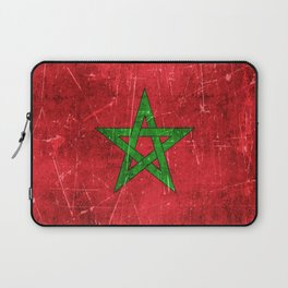 Vintage Aged and Scratched Moroccan Flag Laptop Sleeve