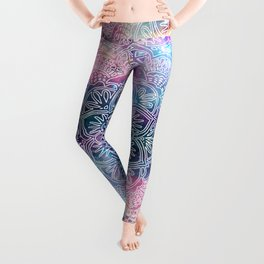 watercolor and nebula flower henna hand drawn design Leggings
