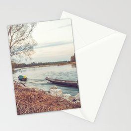 Boats moored along the banks of the Ticino river at sunset Stationery Cards