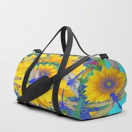 SHABBY CHIC BLUE DRAGONFLIES ON YELLOW SUNFLOWERS ART Duffle Bag