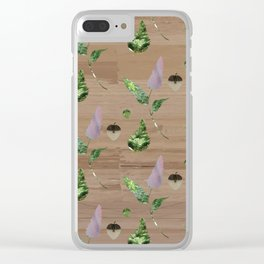 Floral Pattern on Wooden Table Clear iPhone Case