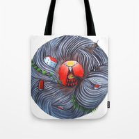 evil Tote Bags featuring Evil by Valentina Gruer