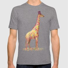 Fashionable Giraffe Tri-Grey LARGE Mens Fitted Tee