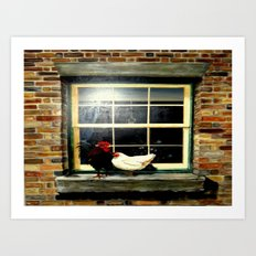 The rooster and a hen on a window Ledge Art Print