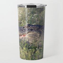 Alligator sunning in grass Travel Mug