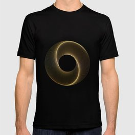 Geometrical Line Art Circle Distressed Gold T-shirt
