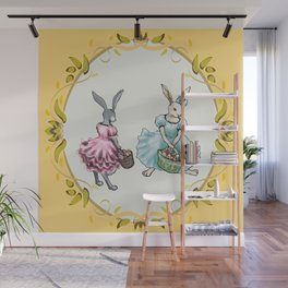 Dressed Easter Bunnies 2 Wall Mural