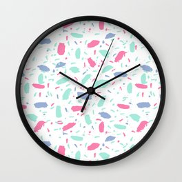 Cute pastel pattern print design nursery decor bright sunny scandinavian Wall Clock