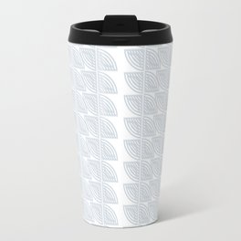 abstract vines pattern in white and a pale icy gray Travel Mug