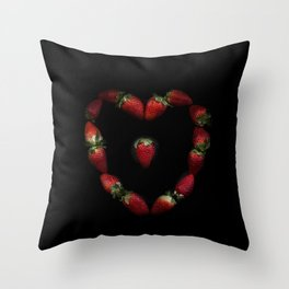 Heart of strawberries Throw Pillow