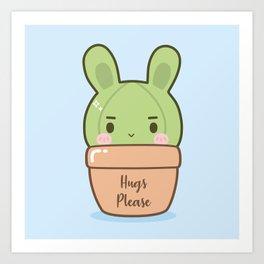 Boyish bunny cactus Art Print