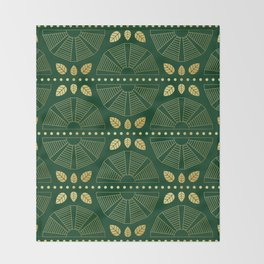 Emerald Art Deco Fan Throw Blanket
