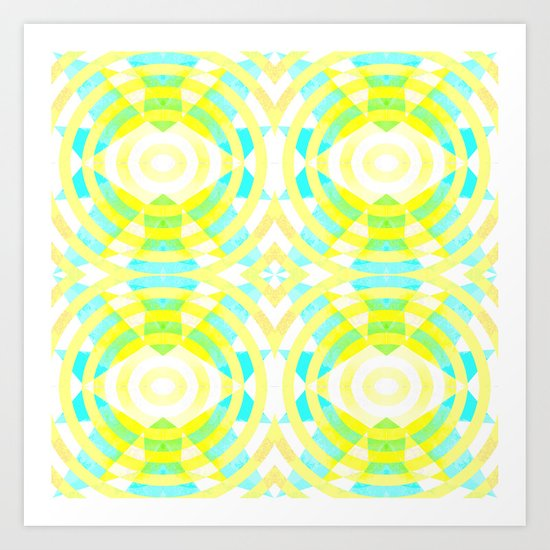 Funky geometry in yellow and blue Art Print