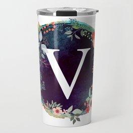 Personalized Monogram Initial Letter V Floral Wreath Artwork Travel Mug