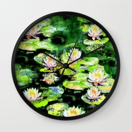 Eight Waterlilies Wall Clock