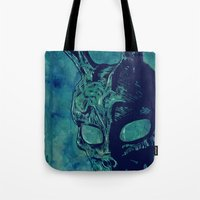 donnie darko Tote Bags featuring Donnie Darko by Giuseppe Cristiano