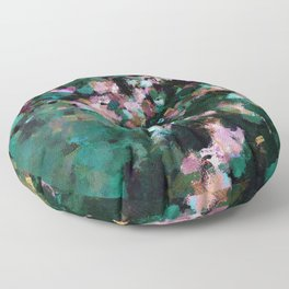 Contemporary Abstract Wall Art in Green / Teal Color Floor Pillow