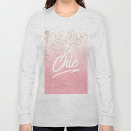 Le Chic French Quote Speckled Gold Flakes Long Sleeve T-shirt