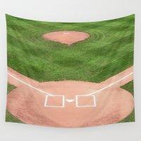 baseball Wall Tapestries featuring Baseball field /Baseballfeld by Karl-Heinz Lüpke