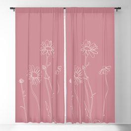 Daisies pink line drawing - Ellie Blackout Curtain