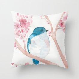 Blue Bird and Blossoms Throw Pillow